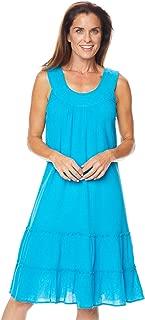 AmeriMark Crinkle Gauze Casual Summer Sleeveless Slipover Sundress