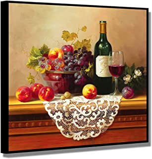Framed Wine Pictures, SZ Vibrant Fruits Wall Art for Kitchen, Matted Black Floater Frame Canvas Prints Reproduction of Retro Vintage Oil Paintings, Ready to Hang, 1.4