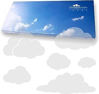 imaggge.com Autocollants Anti-Collision pour Portes vitrées (25 Nuages) - Evitent Les Chocs d'oiseaux ou heurts de Personn...