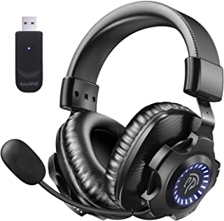 EasySMX 2.4G Wireless Gaming Headset PS5/PS4/PC V07W Gaming Headphones with Detachable Noise Cancellation Microphone, RGB Lighting, Over-Ear Memory Foam Computer Headset with 7.1 Surround Deep Bass