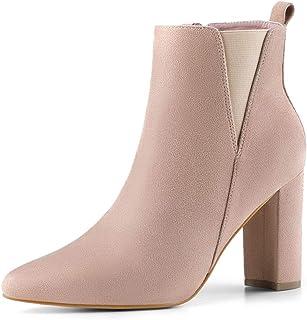 Allegra K Women's Pointed Toe Zipper Block Heel Ankle Chelsea Boots