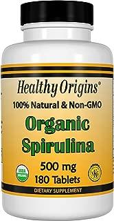 Healthy Origins Organic Spirulina -- 500 mg - 180 Tablets