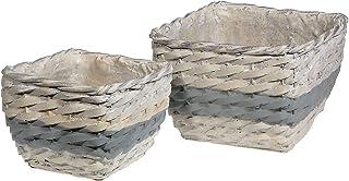 Indian Handicrafts Basketweave Ceramic Square (Set of 2) planters, Gray