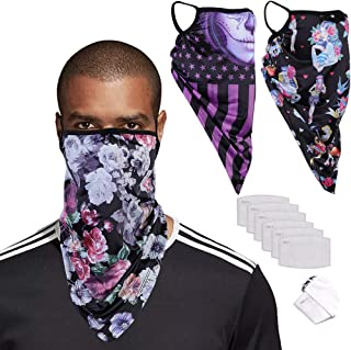 Neck Gaiters Face Mask With Filters Ear Loops Washable Bandana Face Covering Cloth Scarf Balaclava Masks for Men Women