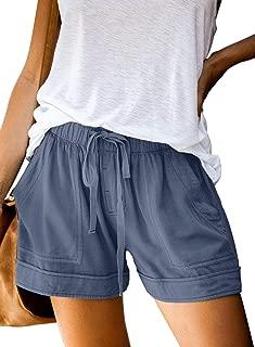 Womens Comfy Drawstring Casual Elastic Waist Pocketed Shorts