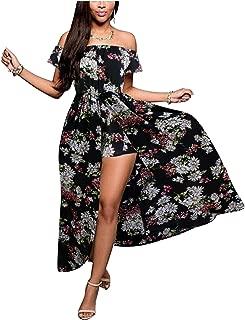 Women's Off Shoulder Floral Rayon Party Split Maxi Romper Dress S-3XL