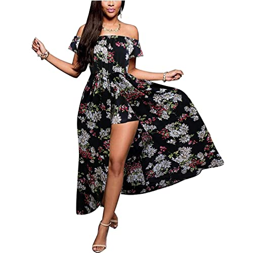 f85b1ec00f BIUBIU Women s Off Shoulder Floral Rayon Party Split Maxi Romper Dress S-3XL