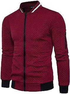 Halfword Mens Full Zip Sweatshirt Cardigan Casual Long Sleeve Lightweight Plaid Jacket M-3XL