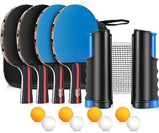 comprar comparacion XDDIAS Conjunto de Tenis de Mesa con Red, 4 Raquetas + 8 Bolas/Pelotas de Tenis de Mesa + 1 Red Retráctil, Juego de Tenis ...