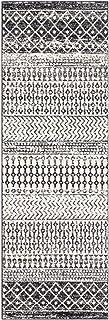 "Constantinople 2' 7"" x 7' 6"" Moroccan Bohemian Pattern - Farmhouse Area Rug - Runner - Polypropylene - Black, Light Gray, ..."