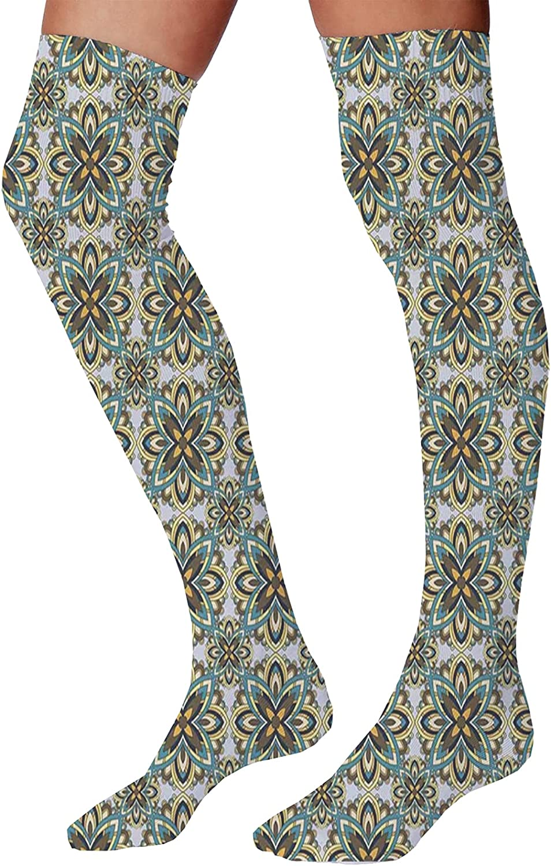 Men's and Women's Fun Socks,Modern Style Asian Universe Symbolic Spiritual Sacred Motif with Fractal Effects