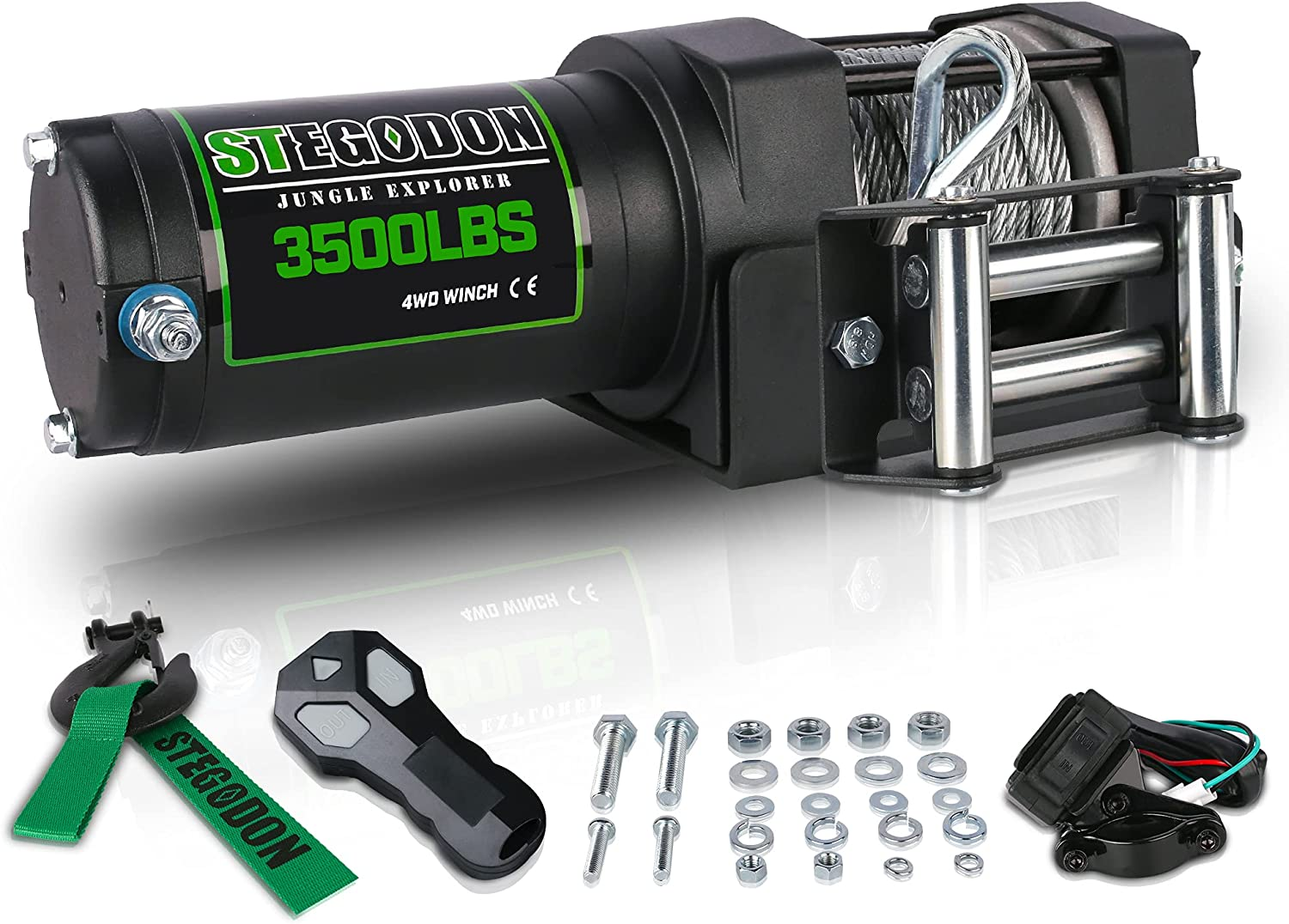 STEGODON New 3500 Limited price sale lb. Load Capacity 12V Electric Steel Cab Inexpensive Winch