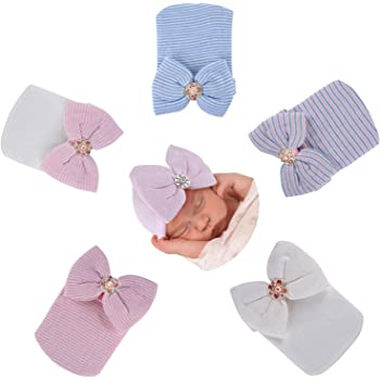 2 New handmade newborn bonnets girls bow pink white baby crochet traditional
