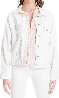 630bff2a9ad MAXSTUDIO Stretch Twill White Denim Jacket Jean