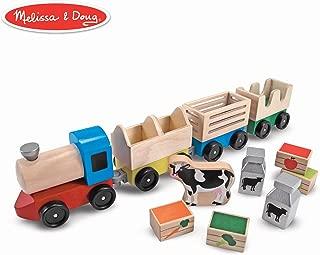 Melissa & Doug Wooden Farm Train Toy Set (3 Linking Cars)