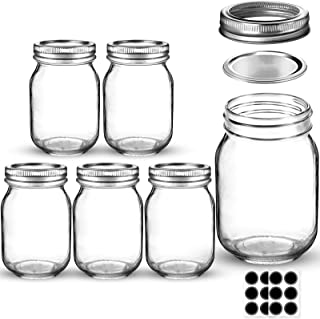 Mason Jars 16 OZ, AIVIKI Glass Regular Mouth Canning Jars with Silver Metal Airtight Lids and Bands for Canning, Jam, Hone...