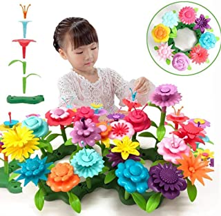 QHTOY DHSM Children's Toy Set Flower Building Toy Garden Building Block Toy Girl Boy 46 PCS Educational Toy Creative and Revival 3 Years Old and Above Bouquet Flower Arrangement Educational Toy Set