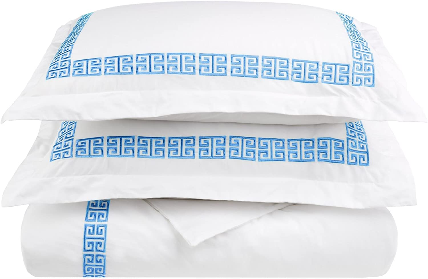 100% Cotton Greek Key Embroidery, 3-Piece Full  Queen Kendell Duvet Cover Set, White  Light bluee