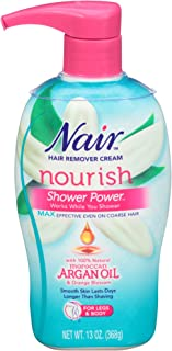 Nair Hair Remover Cream Nourish Shower Power Moroccan Argan Oil, 13 oz.