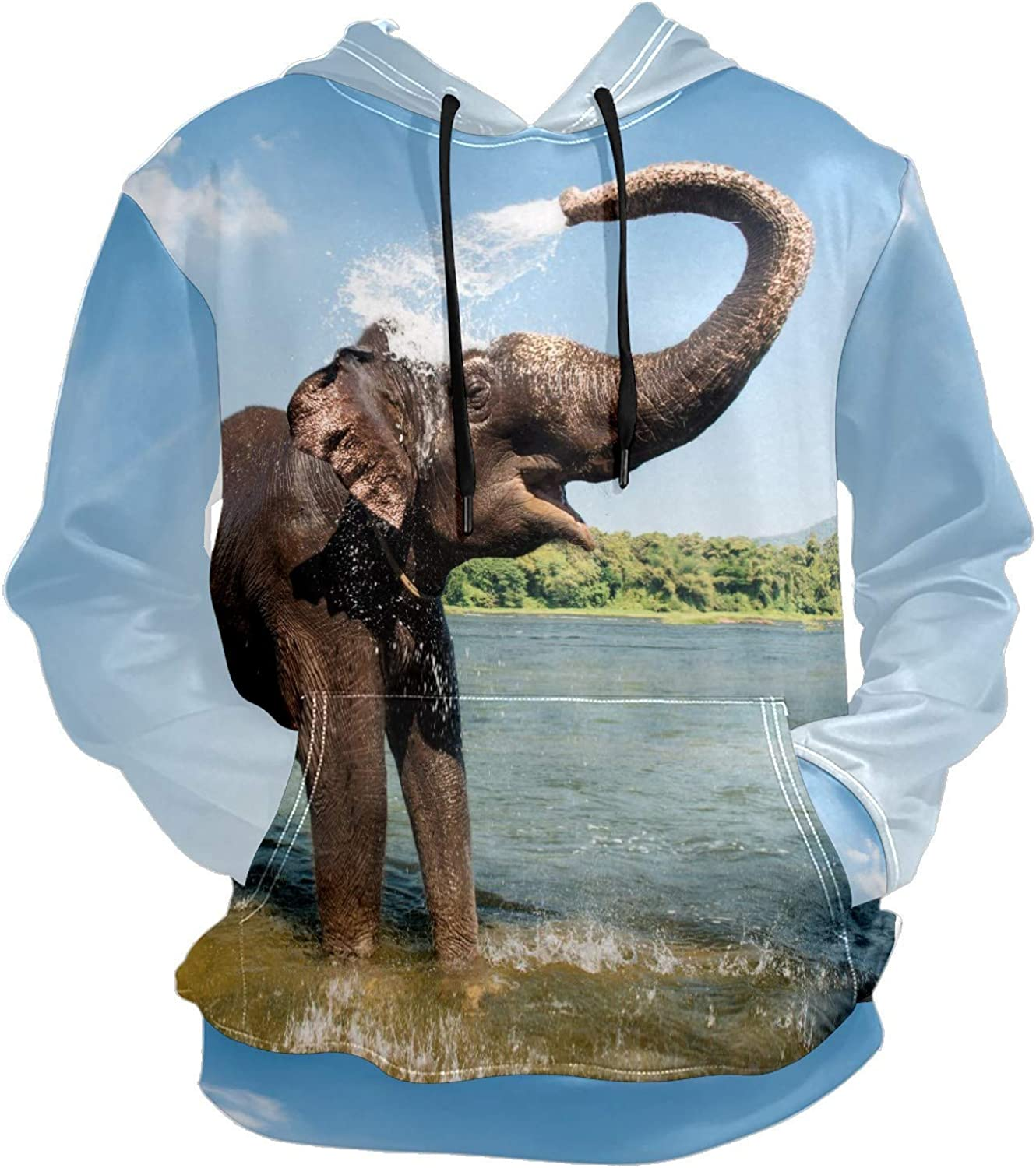 Men's Sport Hoodie Tropical Wild Elephant Playing Water Big and Tall Hoodies for Men Women Oversized Hooded Sweatshirt Hip Hop Pullover Hoodie Midweight Hood for Boys Girls