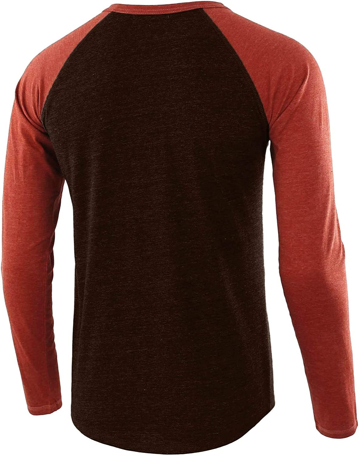 Men Round Neck T-Shirt Casual Spring Long Sleeve Shirts Fashion Patchwork Tops Blouse Slim Fit Sport Shirts
