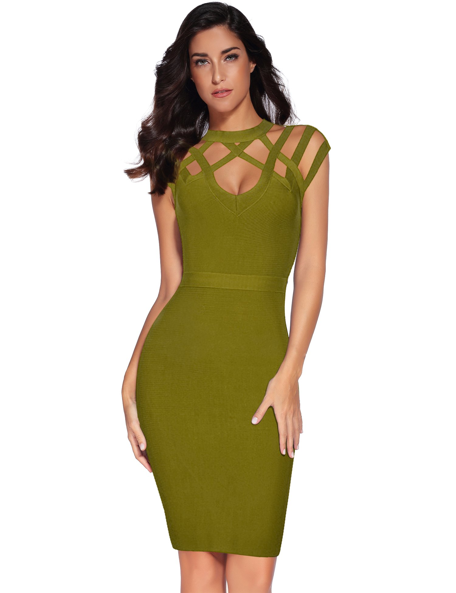 Available at Amazon: Meilun Women's Rayon Hight Neck Cut Out Bandage Bodycon Dresses