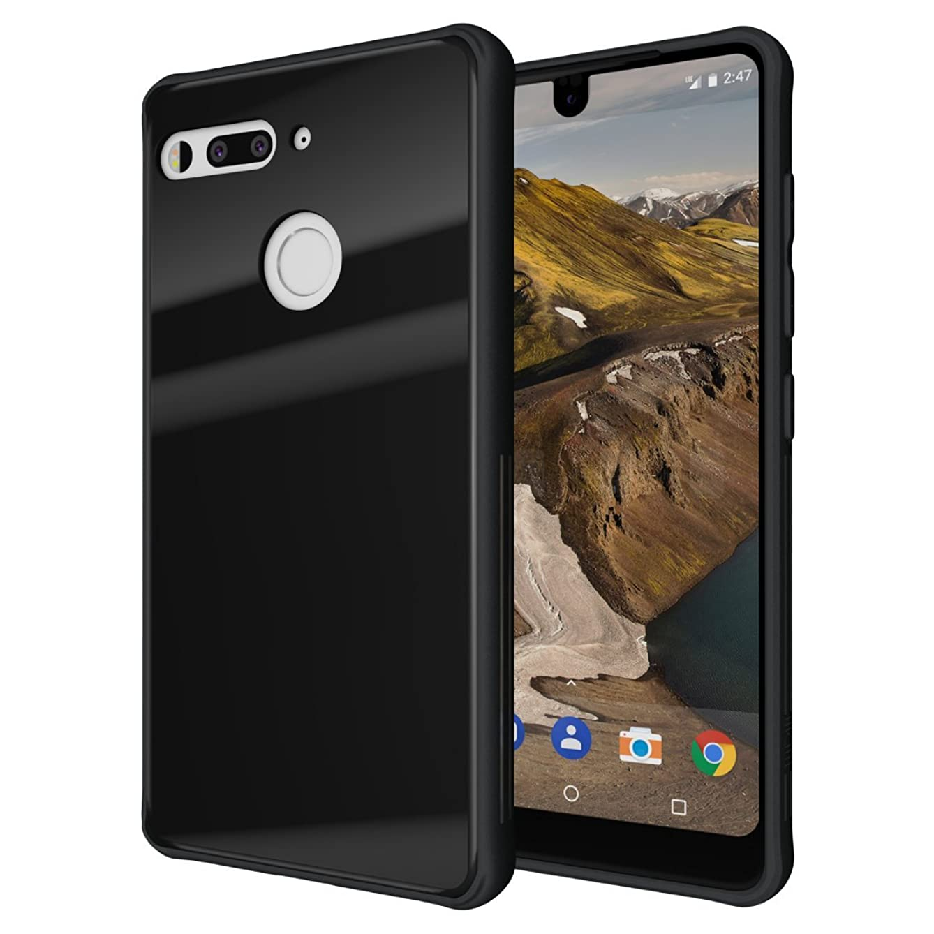 Essential Phone PH-1 Case, TUDIA [Ceramic Feel] Lightweight [GLOST] TPU Bumper Shock Absorption Cover Featuring [Tempered Glass Back Panel] for Essential Phone PH-1 (Black)