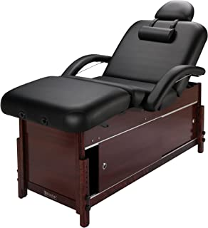Master Massage Cabrillo Stationary Massage Table with Cabinet, Pneumatic Tilting Backrest & Leg Rest, Black with Walnut Legs, 30