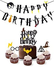 Harry Potter Birthday Party Supplies Set Happy Birthday Banner with Cake Topper,30pcs Cupcake Toppers for Halloween, Wizard Theme Party Supplies Decorations