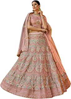 فستان بوليوود 6083 من Peach، مصمم هندية زفاف خاص جورجيت ليهينغا شولي نت دوباتا