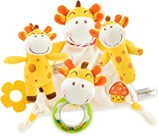 Benegiftoy Baby Stuffed Giraffe Plush Animals Toy Set of 4, Included Sppease Towel, Stick Rattle, Round Rattle, Small Doll...