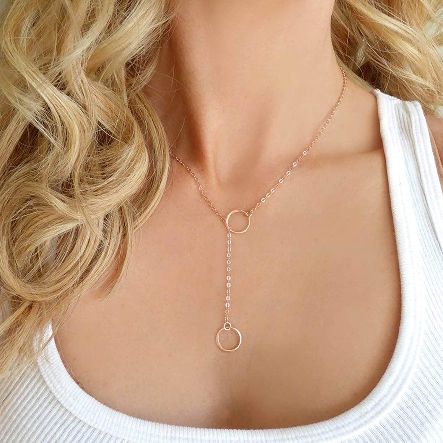 Larancie Boho Necklace Hollow Circle Pendant Necklace Gold Fashion Y Necklace Chain Vintage Necklace Jewelry for Women and Girls