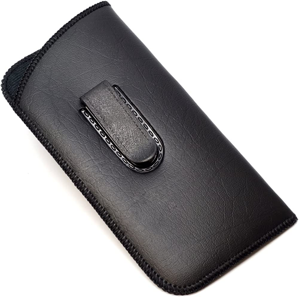 Calabria Unisex Soft Eyeglass Case Black or Brown Syn.Leather&Felt w/OR w/o Clip