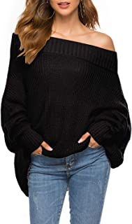 GOLDSTITCH Women's Off Shoulder Batwing Sleeve Loose Oversized Pullover Sweater Knit Jumper