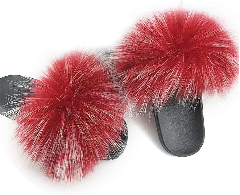Just XiaoZhouZhou Real Raccoon Fur Slippers Women Sliders Casual Fox Hair Flat Fluffy Fashion Home Summer Big Size 45 Furry Flip Flops shoes,RED White,10