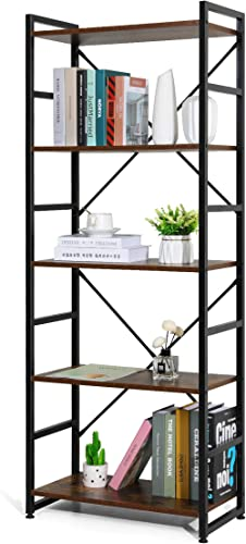 Haton Bookshelf, 5-Tier Wood Bookcase with Metal Frames, 5-Shelf Industrial Storage Shelf Organizer, Modern Tall Disp...