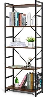 Haton Bookshelf, 5-Tier Wood Bookcase with Metal Frames, 5-Shelf Industrial Storage Shelf Organizer, Modern Tall Display S...