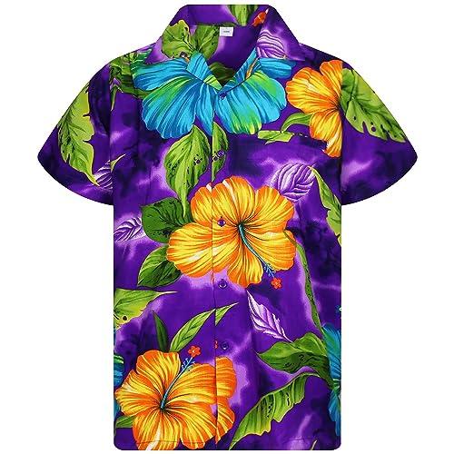da2dbe5a V.H.O. Funky Hawaiian Shirt Men Short-Sleeve Front-Pocket Big Flower  Multiple Colors