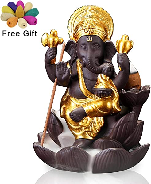 OTOFY Backflow Waterfall Ceramic Incense Holders Backflow Fountain Incense Burner Figurine Incense Cone Holders Home Decor Gift Decorations Statue Ornaments Flower Ganesha