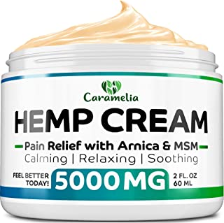 Hemp Extract Cream - 5000Mg - Made in USA - Natural Hemp Pain Relief Cream for Inflammation, Muscle, Joint, Back, Knee & Arthritis Pain - Hemp Salve Contains Arnica, MSM & 10% EMU Oil - Non-GMO