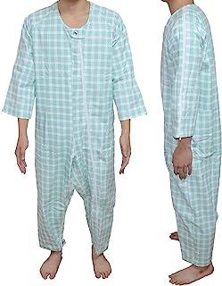 Carecoa 【理学療法士監修】 つなぎパジャマ 介護 パジャマ 介護つなぎ 介護寝間着 介護用パジャマ 特殊なホックで開けにくい構造 (グリーン, L)