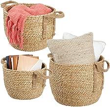 mDesign Juego de 3 cestas de almacenaje de Crin Marina – Prácticos canastos para baño, Dormitorio o salón – Modernas Cajas...