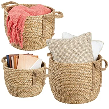 mDesign Round Woven Braided Rope Seagrass Home Storage Baskets, Jute Handles - for Organizing Closet, Bedroom, Bathroom, Living Room, Entryway, Office - Bins in Different Sizes - Set of 3 - Natural