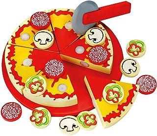 Bino & Mertens 83412 Schneide – pizza, leksak för barn från 3 år, barnleksaker (träleksaker inklusive 6 pizzabitar, olika ...
