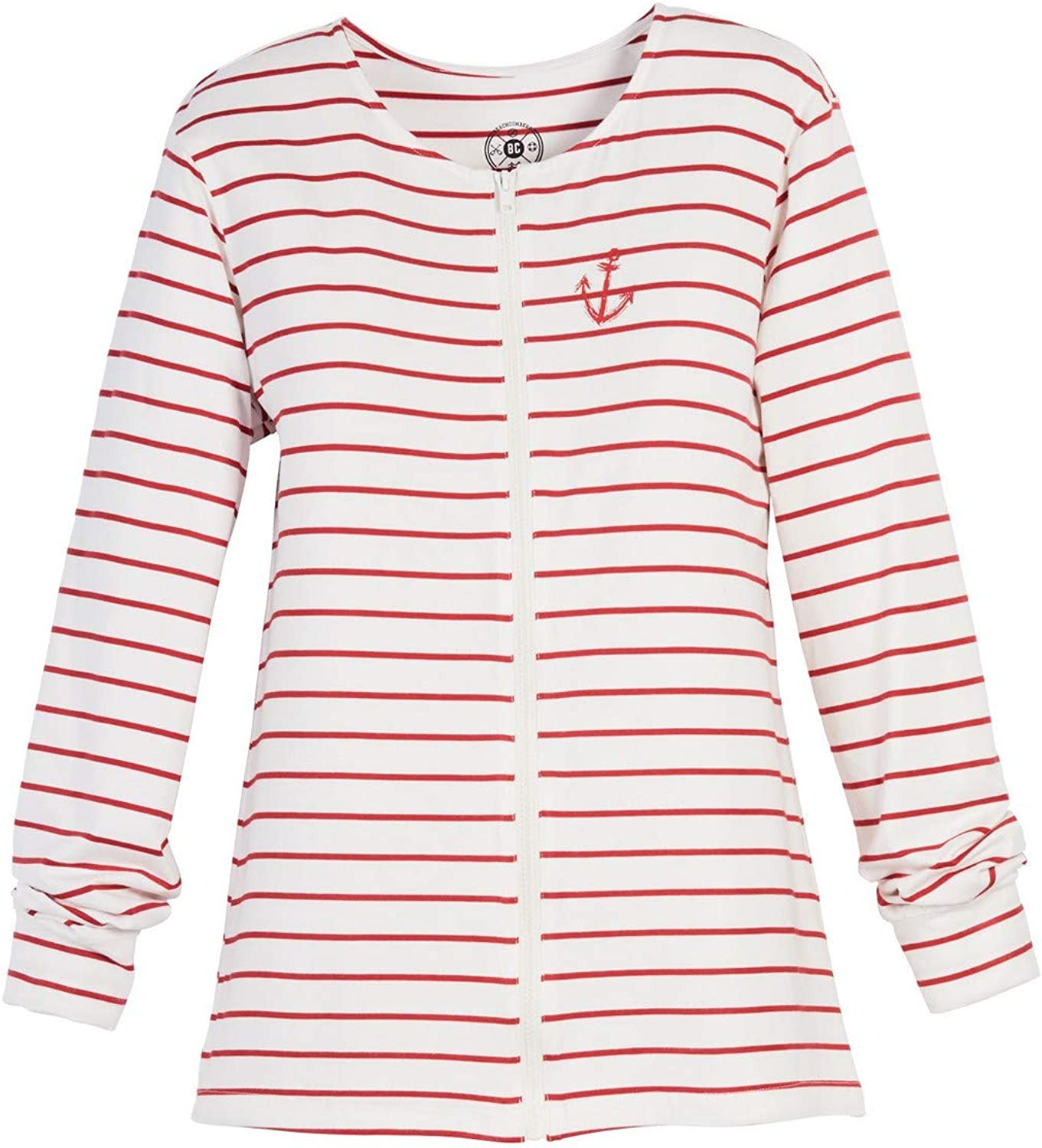 Beachcombers Womens Red Stripe Anchor Jacket with Zipper