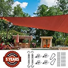 Quictent 26 X 20 ft 185G HDPE Rectangle Sun Shade Sail Canopy 98% UV Block Outdoor Patio Garden with Free Hardware Kit (Terracotta)