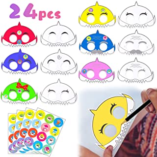 MALLMALL6 24Pcs DIY Little Shark Masks Party Supplies Cartoon Shark Mask for Kids to Decorate Shark Theme Party Favor Ocean Themed Birthday Party Doo Doo Shark Family Inspired Pretend Costumes