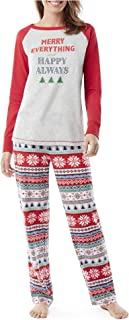 Merry Everything and Happy Always - Christmas Holiday Pajama PJ Set - Raglan Top and Fleece Pants - Plus Size 3X - Fair Isle Red