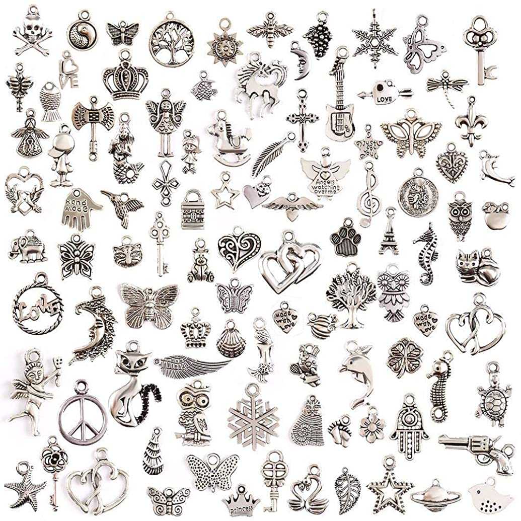 Goldenlight 200Pcs Mixed Tibetan Silver Charms Pendants DIY for Jewelry Making and Crafting