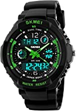 Gosasa Waterproof Multi Function Military Sports Watch LED Digital Analog Alarm(Green)